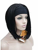 cheap -cute bob 3/4 wig with headband orange brown straight women's short half hair synthetic wigs 2 natural black 10inches