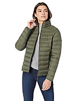cheap -women's fashion lightweight long-sleeve full-zip water-resistant packable puffer jacket, olive, x-large