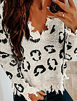 cheap -Women's Knitted Leopard Pullover Long Sleeve Sweater Cardigans V Neck Fall Winter White