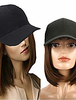 """cheap -light brown short straight bob wig with hat 9"""" short synthetic hair extensions with attached adjustable black baseball cap for women"""