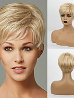 cheap -Human Hair Blend Wig Short Straight Natural Straight Bob Pixie Cut Layered Haircut Asymmetrical White Brown Cosplay Cool Curler & straightener Capless Women's All Natural Black #1B Strawberry