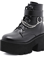 cheap -Women's Boots Chunky Heel Round Toe Daily Walking Shoes PU Rivet Solid Colored Black / Mid-Calf Boots