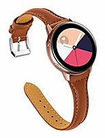 cheap -slim bands compatible with galaxy watch active(40mm)/active2(40mm)(44mm), genuine leather wristband strap 20mm quick release band (brown+silver buckle)