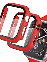 cheap -[2 pack] case compatible for apple watch series 3/2/1 42mm with tempered glass screen protector slim matte hard bumper full protection cover for iwatch 42mm (red)