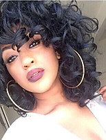 cheap -Short Curly Kinky Wigs for Black Women Fluffy Wavy Black Synthetic Hair Wig Natural Looking Wigs Heat Resistant Wigs with Wig Cap 250g Z014