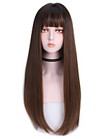 cheap -Synthetic Wig Straight With Bangs Wig Long Dark Brown Brown Black Synthetic Hair 24 inch Women's Soft Classic New Arrival Black Dark Brown