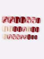 cheap -Golden Burgundy New Geometric Series Fake Nails Finished Nail Art Patch Fake Nail Wearing Nail Art Nail Patch Color Nail Patch 24PCS