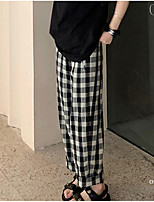 cheap -Women's Basic Streetwear Comfort Daily Going out Wide Leg Pants Pants Plaid Checkered Full Length Pocket Black