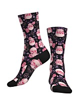 cheap -Crew Socks Compression Socks Calf Socks Athletic Sports Socks Cycling Socks Men's Women's Bike / Cycling Lightweight Breathable Anatomic Design 1 Pair Graphic Skull Floral Botanical Cotton Black S M L
