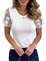 cheap -womens casual round neck solid lace patchwork tops summer short sleeve pullover t-shirts for women white