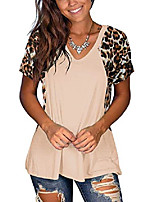 cheap -women's leopard print patchwork short sleeve v neck t shirt casual tops blouses (white,medium)