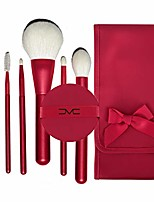 cheap -6 makeup brush set + air cushion + beauty storage bag, fiber foundation brush travel brush concealer cosmetic eye shadow brush set, suitable for carrying out,red