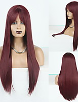 cheap -Cosplay Costume Wig Synthetic Wig Straight Natural Straight Middle Part Neat Bang Wig Long Wine Red Synthetic Hair Women's Odor Free Fashionable Design Soft Burgundy / Heat Resistant