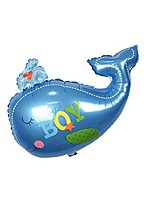 cheap -whale design foil balloon baby shower gender reveal sea theme party - blue boy, 88x72cm