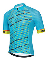 cheap -Men's Short Sleeve Cycling Jersey Blue Stripes Bike Top Mountain Bike MTB Road Bike Cycling Breathable Quick Dry Sports Clothing Apparel / Stretchy / Athletic