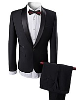 cheap -men's 2 pieces tuxedo slim fit suits shawl lapel formal prom suit black