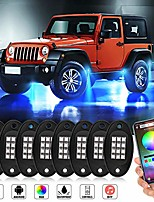 cheap -rock lights rgb led rock lights for trucks with bluetooth controller phone app/remote control timing flashing music mode underglow neon led light for cars off road suv atv vehicles (8 pods)