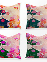 cheap -Cushion Cover 4PCS Linen Soft Decorative Square Throw Pillow Cover Cushion Case Pillowcase for Sofa Bedroom 45 x 45 cm (18 x 18 Inch) Superior Quality Mashine Washable Chinese Style Crane Flowers