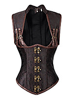 cheap -women's steampunk steel boned gothic brocade underbust corset vest