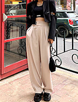 cheap -Women's Streetwear Comfort Daily Going out Pants Chinos Pants Solid Colored Full Length Pocket Black Beige