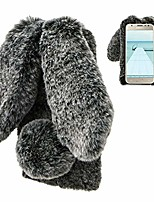 cheap -samsung galaxy j3 2018 rabbit case,samsung galaxy j3 2018 rabbit fur case bunny ear phone case for girls fuzzy cute warm winter soft furry fluffy ball fur hair plush protective cover-black