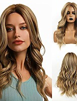 cheap -long wavy ombre brown mix blonde wig middle part natural hair synthetic wig for women natural heat resistant for party daily wear