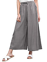 cheap -women's  washed linen casual loose wide leg pants pocket pant with draw string xl grey