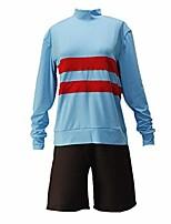 cheap -undertale cosplay chara green frisk light blue costume (m, light blue)