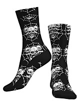 cheap -Crew Socks Compression Socks Calf Socks Athletic Sports Socks Cycling Socks Men's Women's Bike / Cycling Lightweight Breathable Anatomic Design 1 Pair Graphic Skull Cotton Black S M L / Stretchy