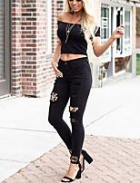 cheap -Women's Streetwear Casual Club Pants Pants Leopard Full Length Hole Black Navy Blue