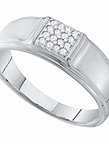 cheap -0.10 carat (ctw) round white diamond mens square cluster wedding band 1/10 ct, 10k white gold, size 13