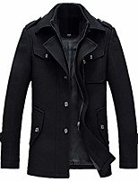 cheap -men's winter thicken warm stand collar wool coat single breasted pea coat x-large black