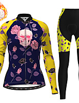 cheap -21Grams Women's Long Sleeve Cycling Jersey with Tights Winter Fleece Polyester Black / Yellow Red Blue Skull Floral Botanical Christmas Bike Clothing Suit Thermal Warm Fleece Lining Breathable 3D Pad