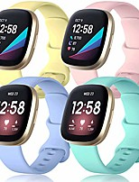 cheap -compatible with fitbit sense bands for women and men, soft sport straps waterproof replacement watch band compatible with fitbit versa 3 smart watch, large 4-pack pink/yellow/lilac/mint green