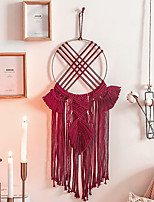 cheap -Hand Woven Macrame Dreamcatcher Bohemian Boho Art Decor Hanging Home Bedroom Living Room Decoration Nordic Handmade Tassel Cotton Red
