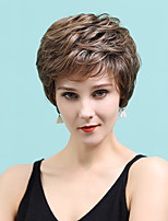 cheap -Human Hair Blend Wig Short Straight Natural Straight Bob Pixie Cut Layered Haircut Asymmetrical White Brown Cosplay Cool Curler & straightener Capless Women's All Sliver White Light Brown 10 inch