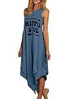 cheap -women's casual sleeveless loose dress round neck long tshirt dresses blue l