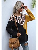 cheap -Women's T-shirt Leopard Color Block Long Sleeve Patchwork Round Neck Tops Basic Basic Top Black