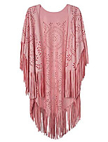 cheap -women's suedette asymmetric fringed cape blouse shawl with tassel pink