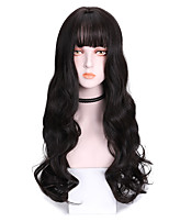 cheap -Synthetic Wig Body Wave With Bangs Wig Long Dark Brown Brown Grey Black Purple Synthetic Hair 24 inch Women's Soft Exquisite Comfy Brown Purple