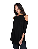 cheap -women's cold shoulder tunic top blouse, basic sexy 3/4 sleeve jersey t-shirt top (purple taupe, x-large)