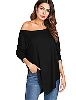 cheap -women's long sleeve tshirt off shoulder tee asymmetrical hem t-shirt top small black