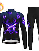 cheap -21Grams Men's Long Sleeve Cycling Jersey with Tights Winter Fleece Polyester Black Skull Christmas Bike Clothing Suit Thermal Warm Fleece Lining Breathable 3D Pad Warm Sports Graphic Mountain Bike