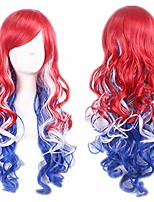 cheap -gradient cosplay anime wigs long curly harajuku style costume wigs for women (red/blue/white)