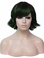 cheap -short back fluffy wig black mixed green color cosplay halloween costume wig include wig cap(black mixed green)