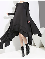 cheap -Women's Swing Dress Midi Dress - Long Sleeve Solid Color Ruffle Patchwork Winter Casual Cotton Loose 2020 Black One-Size