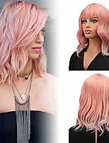 cheap -14'' short curly synthetic wig short bob ombre pink wig pastel wavy with air bangs wig cap included for women girl's colorful costume wigs