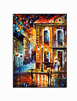 cheap -100% Hand painted Abstract City Street Oil Painting on Canvas  Landscape Buildings Knife Night Street Oil paintings Wall Art for Living Room