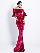 cheap -Mermaid / Trumpet Elegant Minimalist Prom Formal Evening Dress Off Shoulder Half Sleeve Sweep / Brush Train Velvet with Sleek 2020