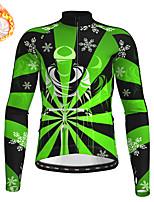 cheap -21Grams Men's Long Sleeve Cycling Jersey Winter Fleece Polyester Red Blue Green Christmas Santa Claus Bike Jersey Top Mountain Bike MTB Road Bike Cycling Fleece Lining Warm Quick Dry Sports Clothing